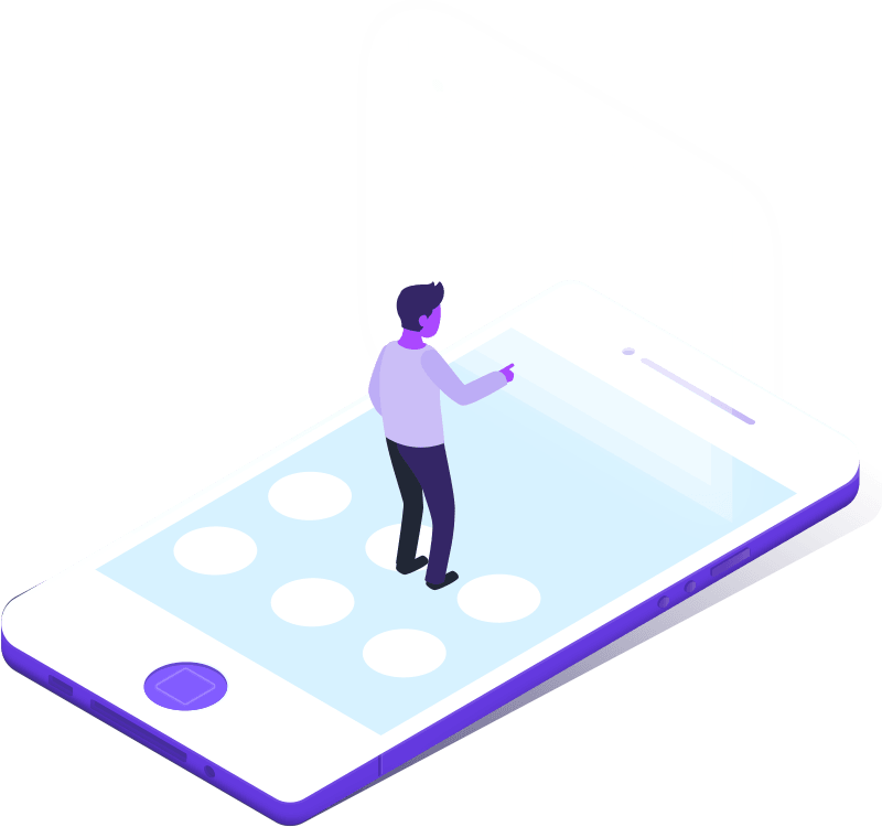 a stylized person standing on a smartphone shaped floor